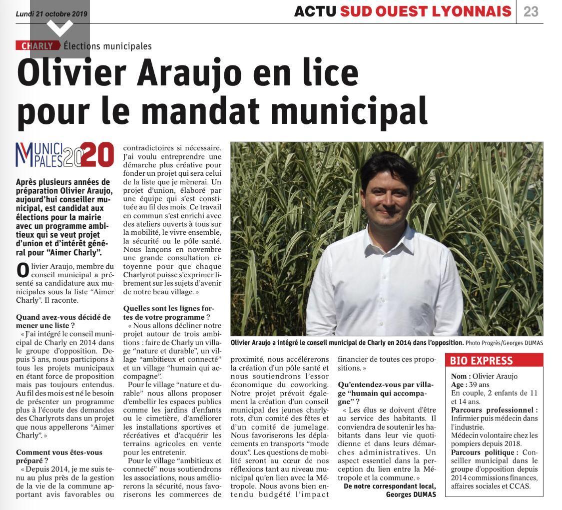 Olivier Araujo en lice pour le mandat municipal